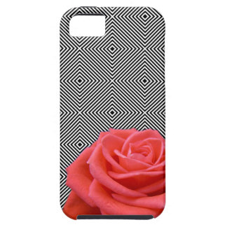 Black and White Squares and Pink Rose iPhone 5 Cover