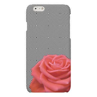 Black and White Squares and Pink Rose iPhone 6 Plus Case