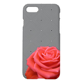 Black and White Squares and Pink Rose iPhone 7 Case