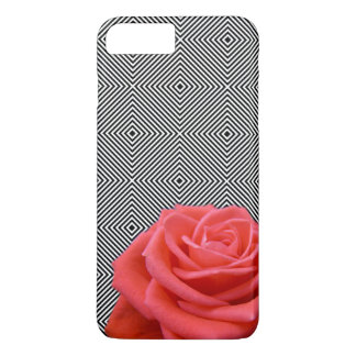 Black and White Squares and Pink Rose iPhone 7 Plus Case