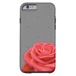 Black and White Squares and Pink Rose Tough iPhone 6 Case