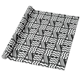 Black and White Squares and waves Design Wrapping Paper