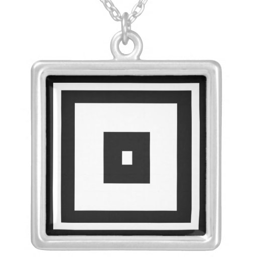 Black and White Squares Custom Necklace