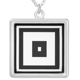 Black and White Squares Square Pendant Necklace