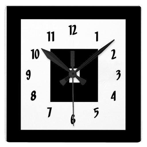 black and white squares square wall clocks zazzle