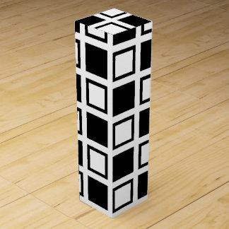 Black and White Squares Wine Gift Box