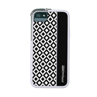 black and white squares with diamonds and name iPhone 5/5S cases