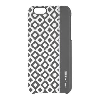 black and white squares with diamonds and name iPhone 6 plus case