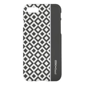 black and white squares with diamonds and name iPhone 7 case