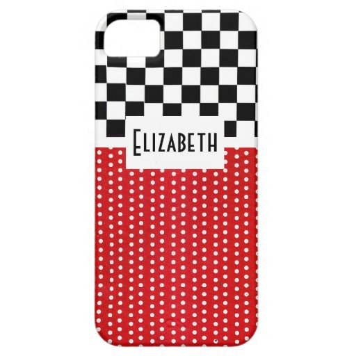 Black and White Squares with Polka Dots iPhone 5 Cases