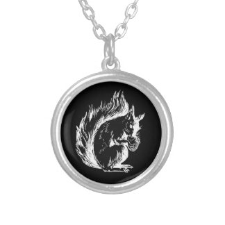 Black and White Squirrel Design Silver Plated Necklace