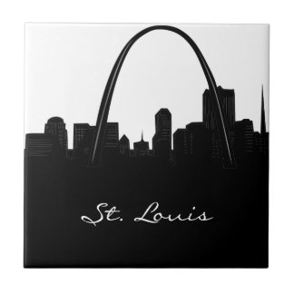 Black and White St. Louis Skyline Tile