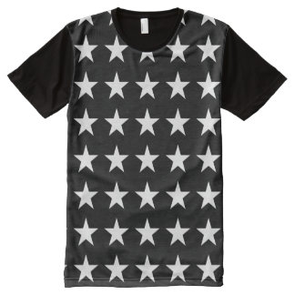 Black and White Star All-Over Print T-Shirt