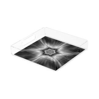 Black and White Star Burst Acrylic Tray