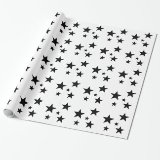 Black and White Star Gift Wrap Wrapping Paper