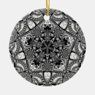 Black and White Star in a Pentagon Christmas Ornament
