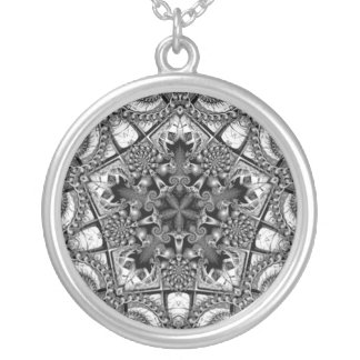 Black and White Star in a Pentagon Silver Plated Necklace
