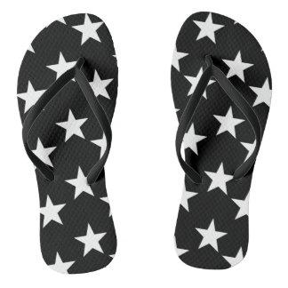 Black and White Stars Flip Flops