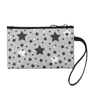 Black and White Stars on Grey Coin Purse