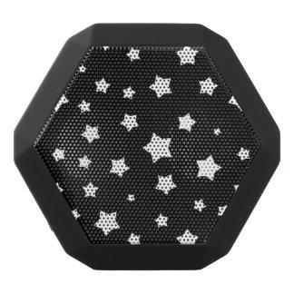 Black and white stars pattern black bluetooth speaker
