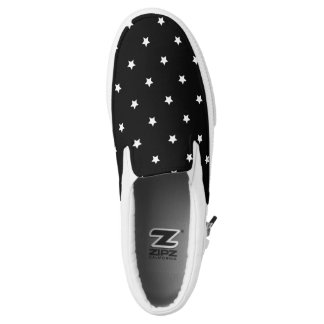 Black And White Stars Pattern Printed Shoes