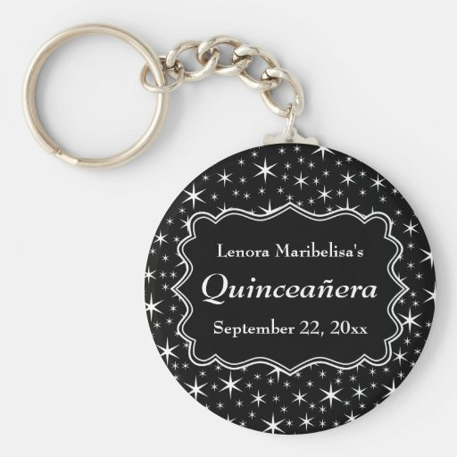 Black and White Stars Pattern Quinceanera Key Chain