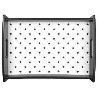 Black And White Stars Pattern Serving Tray