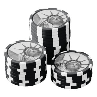 Black and White Statue of Liberty Poker Chips