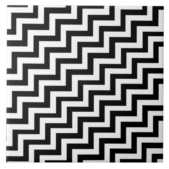 Black and white step pattern ceramic tile