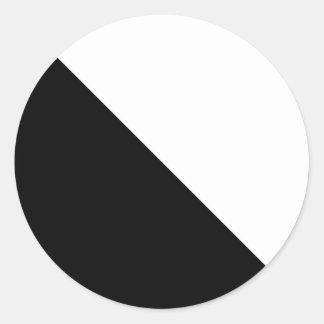 Black and White Round Sticker