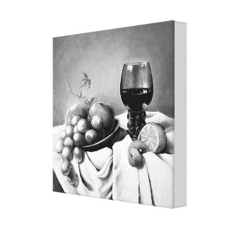 Black and white still life for kitchen decoration canvas print