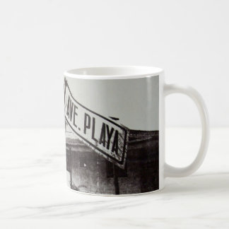 Black and white street sign coffee mug