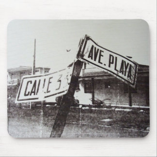 Black and white street sign mouse mat
