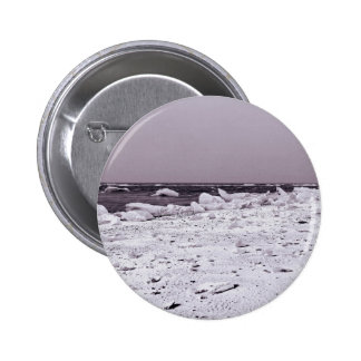 Black and white stretched arctic glaciers seascape 6 cm round badge