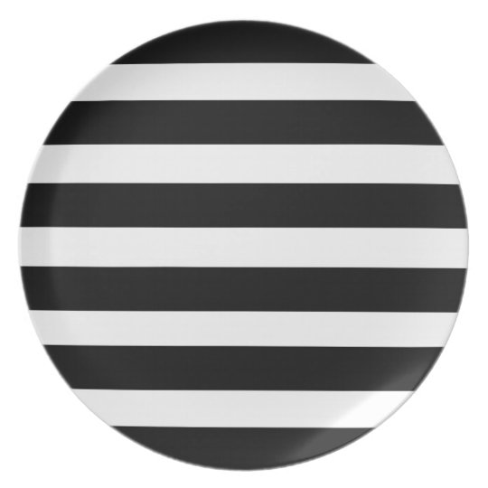 Black And White Strip Decorative Plates