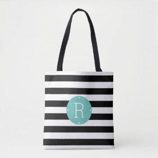 Black and White Stripe Aqua Monogram Tote Bag