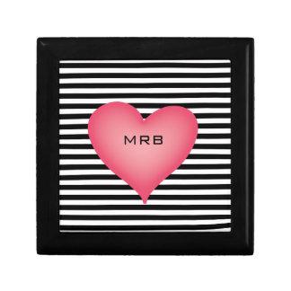 Black and White Stripe Monogrammed Big Pink Heart Gift Box