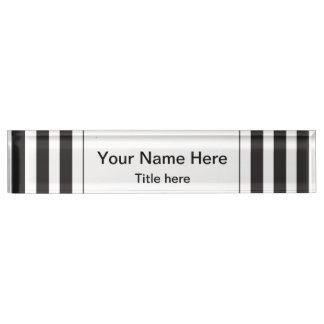 Black and White Stripe Desk Nameplates