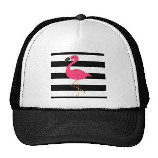 Black and White Stripe Pink Flamingo Cap
