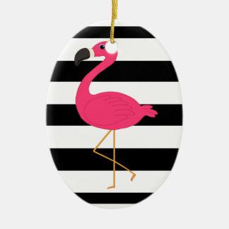 Black and White Stripe Pink Flamingo Ceramic Oval Decoration
