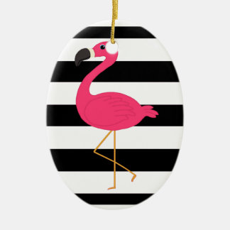 Black and White Stripe Pink Flamingo Christmas Ornament