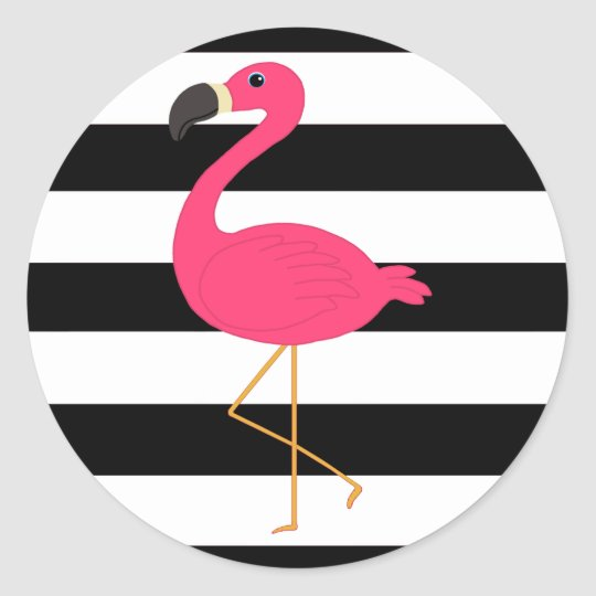 Black and White Stripe Pink Flamingo Classic Round