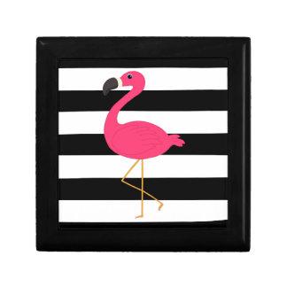 Black and White Stripe Pink Flamingo Keepsake Box
