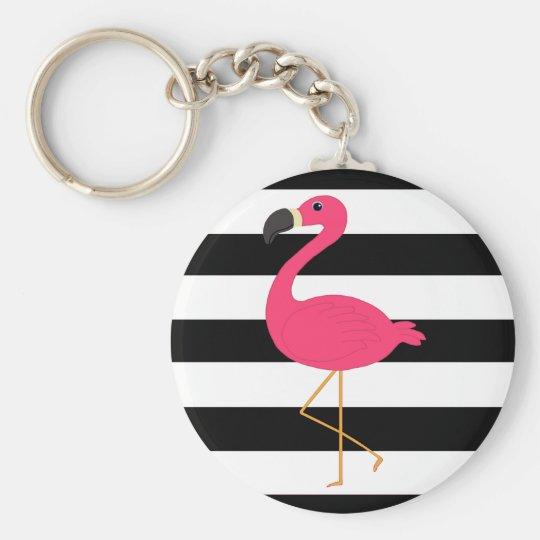 Black and White Stripe Pink Flamingo Key Ring