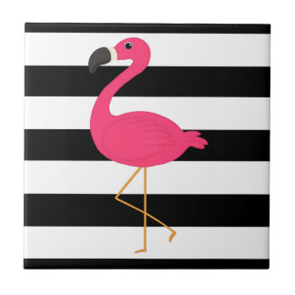 Black and White Stripe Pink Flamingo Small Square Tile