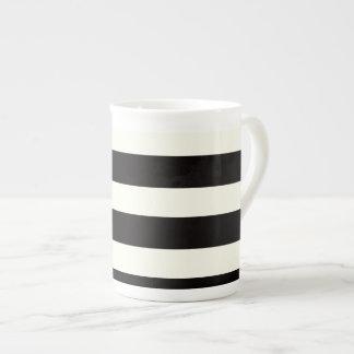 Black and White Stripe Tea Cup