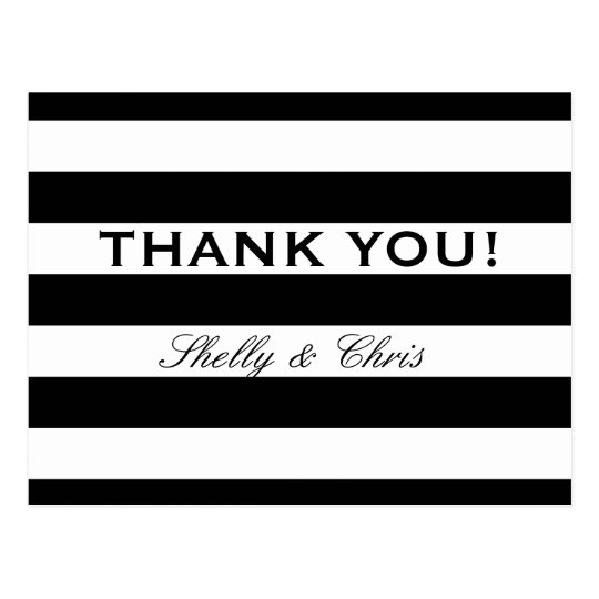 Black and white stripe wedding thank you postcards