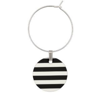 Black and White Stripe Wine Charms