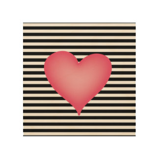 Black and White Stripe with Big Pink Heart Wood Canvas