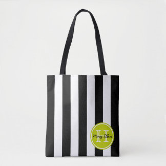 Black and White Stripe With Lime Green Monogram Tote Bag